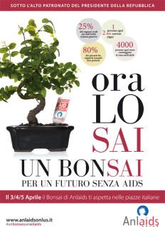 """Il manifesto della campagna """"Un bonsai per Anlaids"""""""