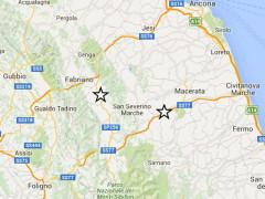 La mappa dei terremoti registrati lunedì 18 gennaio 2016 nel maceratese