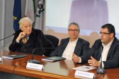 Presentazione del concerto di Joan Baez a Recanati per Lunaria 2016: da sx Cesanelli, Ceriscioli e Fiordomo
