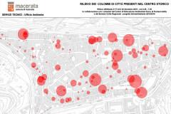 La mappa con il rilievo della presenza di piccioni a Macerata nel dicembre 2015