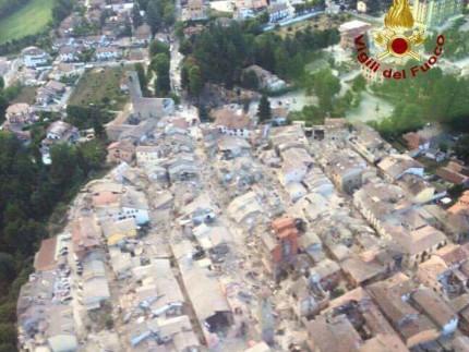 L'area colpita dal terremoto del 24 agosto 2016