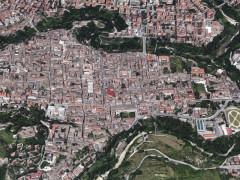 La città di Ascoli Piceno vista dal satellite: particolare sul centro storico