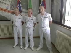 Cambio al vertice della Guardia Costiera a Cupra Marittima: da sinistra Valente, Morelli, Moliterni