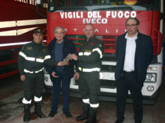 Giorgio Cecchini coi Vigili del Fuoco