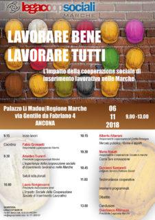 Lavorare bene, lavorare tutti - convegno a Palazzo Li Madou-Regione Marche, Ancona - locandina